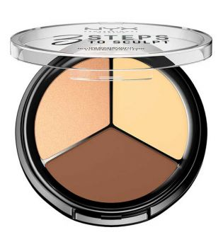 Nyx Professional Makeup - Contour Palette 3 Steps to Sculpt Face - 3STS02: Light
